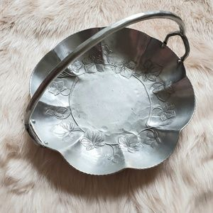 1950s Hand Forged Scalloped Dish Tray with Handle